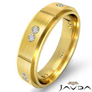 Wedding Band 14k Gold Yellow Bevel Edge Mens Ring 0 15ct