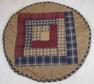 Country Burgundy Navy Tan Plaid Millsboro Quilted Round Table Mat 13