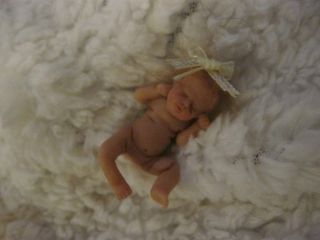 OOAK Clay Baby Mico Miniature Baby Dollhouse Mini Tiny Girl NR 3 Days
