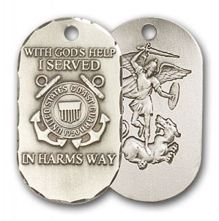 Silver Saint Michael Coast Guard Dog Tag Medal Necklace