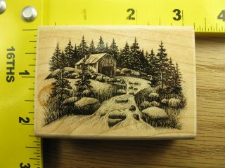 Stampscapes Old Mill Scenery River Trees Rocks Rubber Stamp 1651