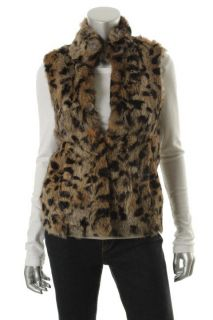 Michael Kors New Brown Printed Rabbit Fur Outerwear Vest Jacket XS