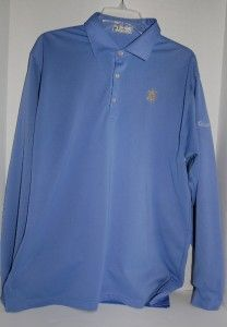 Peter Millar Blue Old Memorial Golf Club Long Sleeve Polo Shirt Size