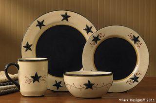Place Setting Star Vine Ceramic Plates Bowl Mug Primitive Country