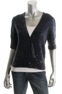 Marc Jacobs New Mimi Paillette Blue Sequined Ribbed Cropped Cardigan