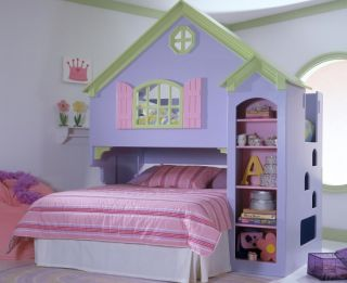 Youth Bedroom Kids Doll House Bunk Bed Twin Full Bed