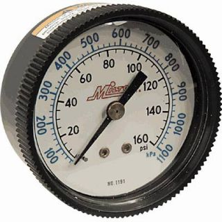 Milton Mini Air Gauge 1 4in NPT Inlet 0 160 PSI Center Mount 1191
