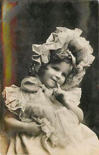 Real Photo Little Girl Posing in Bonnet mailed 1906 K30285