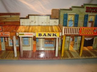 Vintage 1950W Marx Roy Rogers Mineral City Playset Building Tin Toy