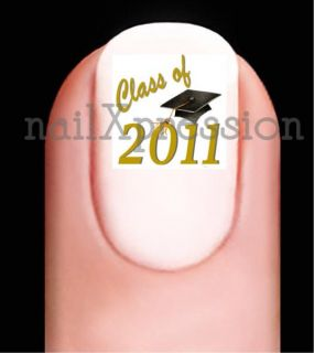 Class of 2011 Gold Graduation Hat Nail Decals Set 20