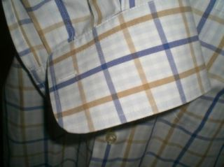 Excellent Peter Millar Blue White Plaid Turkish Cotton Button Up
