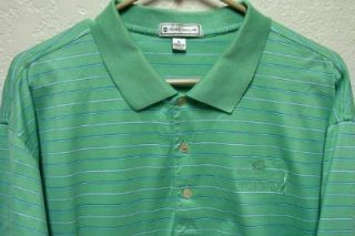 Peter Millar Mens Golf Shirt x Large Green w Stripes The Colonial