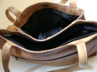 Anuschka Large Leather Shopper Hand Painted Brown Purse