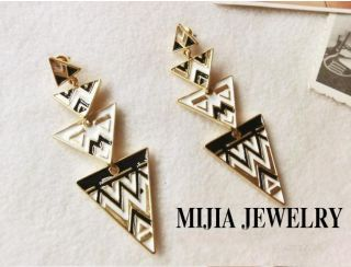 Occident Fashion Bohemian Gold Tone Enamel Geometry Stripe Triangle