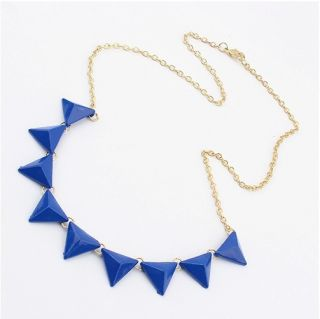 Delicate Punk Style Blue Enamel Geometric Triangle Gold Tone Necklace