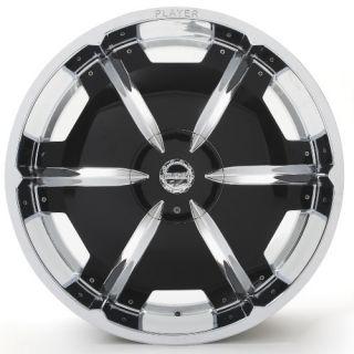 January 2013 Sale 24 Player 815 Chrome Black Inserts Rims Tires Pkg