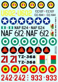 Berna Decals 1 48 Mikoyan MIG 17 Fresco Fighter African Air Forces