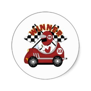 Race Car Winner Kids Gift Round Stickers