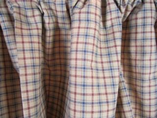Country Burgundy Tan Navy Plaid Millsboro Lined Scalloped Swag Set