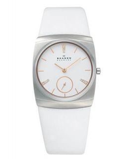 Skagen Denmark Watch, Womens White Leather Strap 511SSLWR