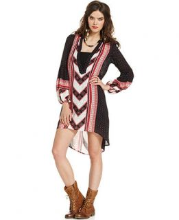 Free People Dress, Long Sleeve V Neck Printed High Low   Womens