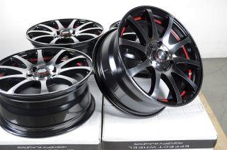 15 4x114 3 4x100 Black Red 4 Lug Wheels Miata Jetta Golf Accord Cooper