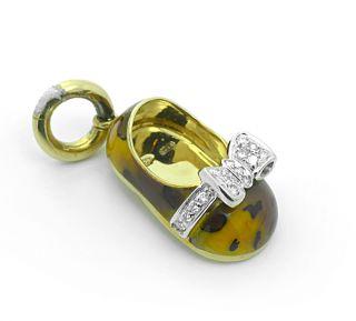 Aaron Basha 18K Diamond Gold Baby Shoe Bootie Charm Pendant Enamel