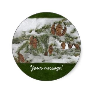 Snowy Tree with Pine Cones   Custom message Stickers