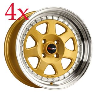 Drag Wheels Dr 27 15x7 4x100 ET10 Gold Rims Civic Integra Corolla