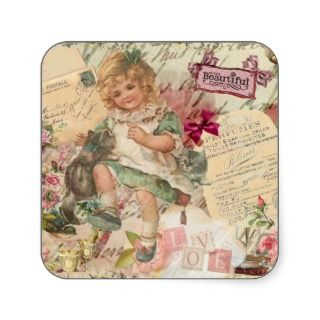 Vintage cute chic Victorian girl cat & pink floral Stickers
