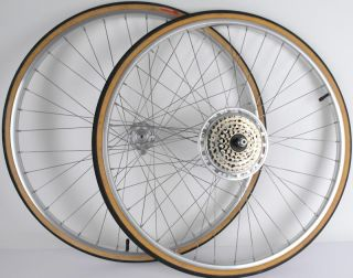 "Vtg Araya 27"" Touring Road Bike Wheels Suntour 14 34 36 Hole 126mm"