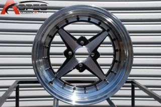 Zero Plus 4x100 20 Full Royal Black Wheel Fits Civic Integra