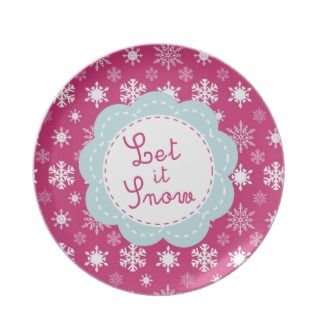Let it Snow Hot Pink Retro Christmas Plate