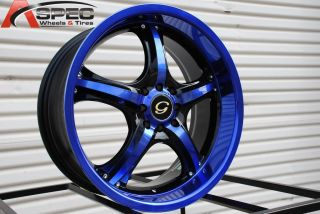 18x8 G Line G511 Wheel 5x100 114 3 38 Blue Black Rim Fits Celica Civic
