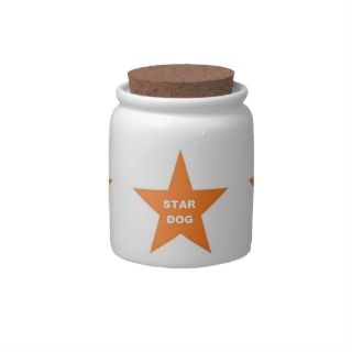 Dog Treat Jar Star Dog on Orange Star Candy Jar