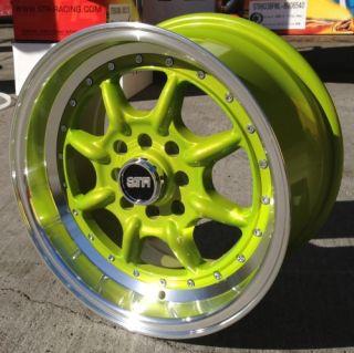 15x8 Str 504 4x100 25 Green Wheel Fit BMW E30 2002 VW Golf Jetta Miata