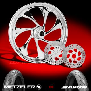 Drifter Chrome 21 Front Wheel, Tire & Dual Rotors for 2000 13 Harley