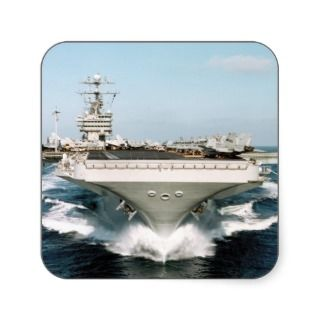 Aircraft Carrier at Sea Square Sticker