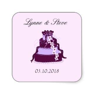 Purple Wedding Cake Save the Date Square Sticker