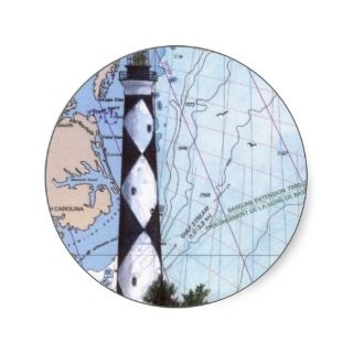 Cape Lookout Lighthouse NC Nautical Chart Art Round Sticker