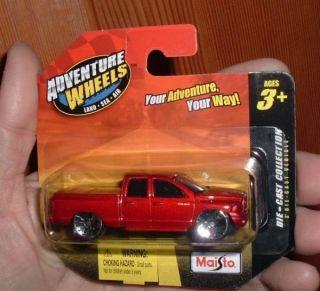 Maisto Dodge RAM Quad Cab Red Short Card Adventure Wheels 1 64