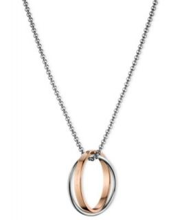 ck Calvin Klein Necklace, Two Tone Stainless Steel Twisted Hoop