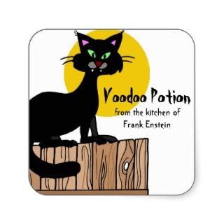 Halloween Food Labels Black Cat Full moon Sticker