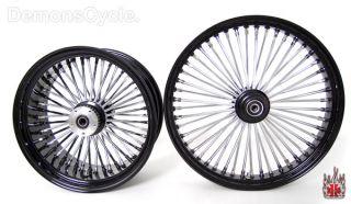 Set Black Fat Mammoth Wheels 21x3 18x8 5 48 Spokes 250 Wide Fits