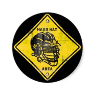 Lacrosse Hard Hat Area Round Stickers