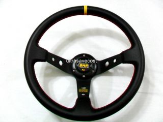 350mm Rally 4 Deep Dish Red STI Leather Steering Wheel