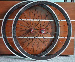 42mm Alloy Carbon Road Bike Clincher Wheels Wheelset Red Hub