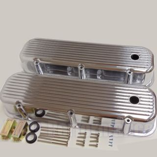 Pre 86 BBC Big Block Chevy Tall Finned Polished Aluminum Valve Covers