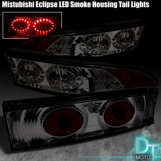 SMOKED 95 99 ECLIPSE HALO LED RIMS TAIL LIGHTS w/ CENTER PIECE LAMPS