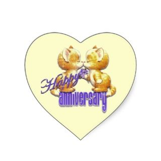 7774 Happy Anniversary cute cartoon kittens cats Heart Stickers